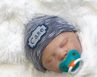 Newborn Hospital Hat. Newborn Hospital Beanie. Dark Blue Newborn Hat. Personalized Newborn Hat. Newborn Name Hat