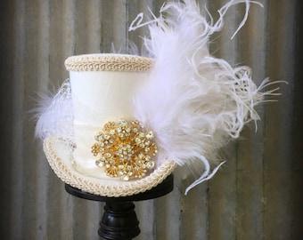 Wedding Mini Top Hat, Off White Wedding Mini Top Hat, Alice in Wonderland, Mad Hatter Hat, Tea Party Wedding, Kentucky Derb
