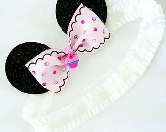 Minnie Mouse Cupcake Ears Headband