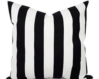 15% OFF SALE Two Black and White Pillow Covers - Striped Decorative Throw Pillow Covers - 12x16 12x18 14x14 16x16 18x18 20x20 22x22 24x24 26