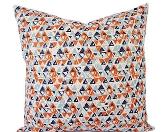 15% OFF SALE Orange Blue Pillow Cover - Orange Pillow Cover - Navy Decorative Pillow - Orange Throw Pillow - Navy Throw Pillow - Lumbar Pill
