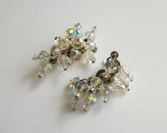 LAST CHANCE Vintage Earrings Beaded Earrings Antique Earrings Aurora Borealis Vintage Clip-On Earrings Jewelry Vintage Jewelry Earrings Set
