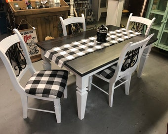 Beautifully refurbished solid wood Black and White Table and Four matching chairs.