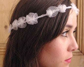 Bridal Headband Tulle Flowers