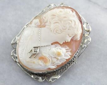 Art Deco Diamond Adorned Cameo Brooch, Antique Cameo Brooch, Cameo Estate Jewelry, Art Deco Jewelry CVH5TC-D