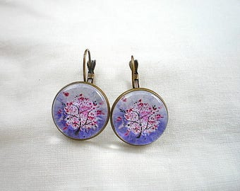 Purple tree of life earings