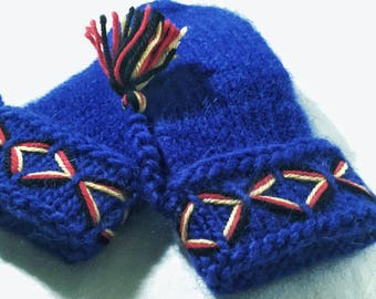 Swedish Lovikka mittens, handmade knitted mittens. Felted blue embroidered warm mittens scandinavian design gift folklore Children 5-8 years