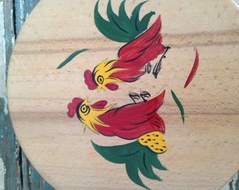 Vintage Hand Painted Round Wooden Box, Roosters Battle, Hamburger Press, Stamped Japan