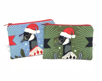 Mini zipper pouch Holiday Homies Goose