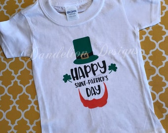 St Patrick's Day Shirt Saint Patty Leprechaun Boy's or Girl's Green and Gold Shirt Beard