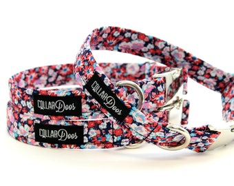 """Pink Purple Floral Silver Chrome Dog Collar XS Small Medium Large with Optional Flower & Matching Leash """"The Flirt"""""""