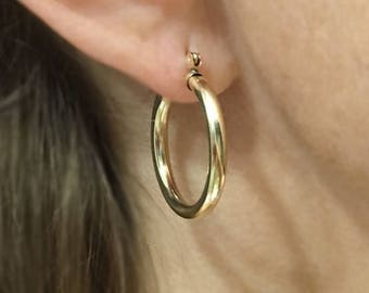14/20 Yellow Gold-Filled 3.2mm Tubing Hoop Earring - Self-locking - Ear Post Hinge and Catch - Continuous Endless Design