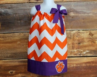 Clemson Tigers Inspired Orange Chevron Dress / Dark Purple Trim - Size Newborn to Child 11/12 girls pillowcase dress baby toddler infant