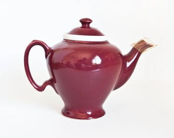 Vintage McCormick Tea Teapot with Infuser Strainer, Large Maroon Hall Tea Pot Baltimore MD