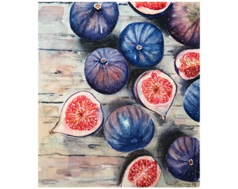 Watercolor figs,painting for kitchen,still life painting,watercolor fruit