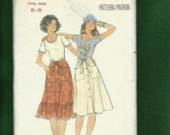 15% OFF SALE 1970's Butterick 4761 Western Ruffle Tier Wrap Skirt & Tee Shirt Sizes 6...8