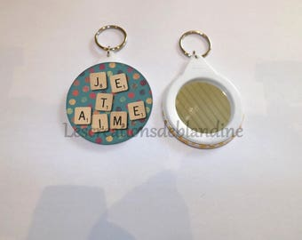 """mirror and key """"special I love you"""" the circle is 5.8 cm in diameter"""