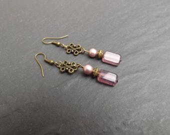 """Mélisande"" Czech glass and swarovski Pearl, dangle earrings"