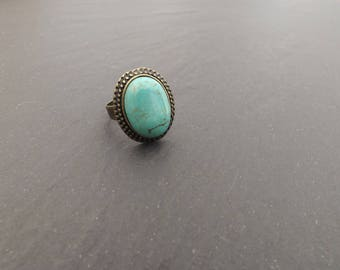"""ring """"Anais"""" turquoise howlite stone cabochon"""