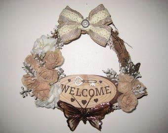 pretty wicker welcome wreath home decor