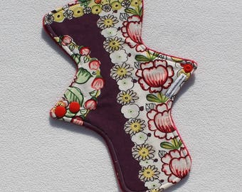 """Minky Topped. Reusable Modern Cloth Pad featuring a floral print (24cm/9.5"""")"""