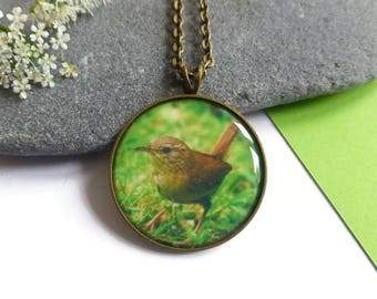 Wren Pendant Necklace, Bird Jewelry, Song Bird Pendant, Woodland Animal, Unique Gift, Christmas Jewelry Gift for Her, Nature Jewelry