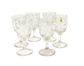 6 Vintage Pressed Glass Cordial Glasses, Vintage Barware, Wine Glasses, Goblets, Bridal Shower, Wedding, Home Bar
