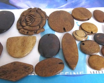 Brown Bone Cabachons, Wirewrapping, Carved Bone Rose, Tea Stained Oval Cab, Bulk Bone Pieces, Round, Marquise, Semi Circle, 19 Pc 09132