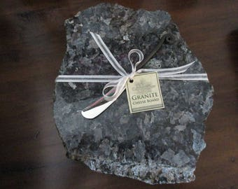 Granite Cheese Board, Medium size, Silvery Gray mix, includes wrought iron style cheese knife