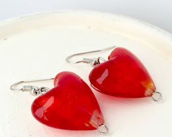 Red heart earrings, Heart earrings, Heart dangle earrings, Heart shaped earrings