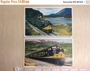 10% OFF 3 day sale 2 Pc Lot Vintage Old Antique Northern Pasific Railroad Post Cards North Coast Limited Diesel Powered Train 1949 One Used
