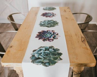 Succulent Table Runner, Mothers Day Gift, Dining Room Decor, Functional Art, Modern Home and Furniture, Kitchen,Table Linens, Spring Decor