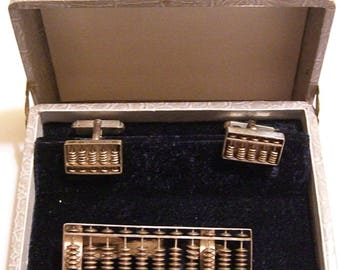 Vintage 1950's Sterling Silver Abacus Men's Tie Bar & Cufflinks