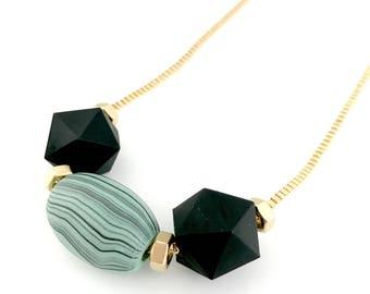Black turquoise beads necklace, silicone beads necklace, long golden geometric, Nulika