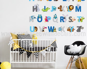 Alphabet Wall Decal - Alphabet Animal Wall Decal - Playroom Wall Decal, Nursery Wall Decal, Nursery Wall Art - Animal Wall Decal 01-0034