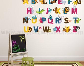 Alphabet Wall Decal - Alphabet Animal Wall Decal - Playroom Wall Decal, Nursery Wall Decal, Nursery Wall Art - Animal Wall Decal 01-0034