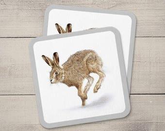 Hare Coaster, Animal Coaster, Handmade Coaster, Wooden Coaster