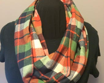 Orange Navy Blue Green and Cream Plaid Cashmere Blend Flannel Infinity Scarf