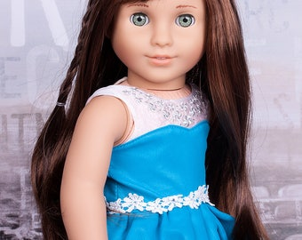 Custom OOAK  turquoise green eyes American Girl Doll Marie Grace 18'' with  long brown hair (new wig)