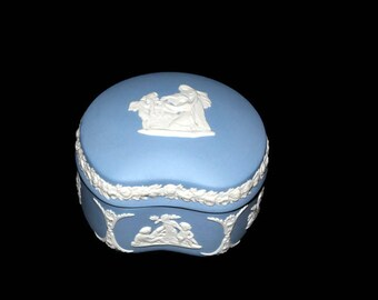 Wedgwood Trinket Box, Wedding Ring Holder, Small Jewelry Box, Blue Wedgwood Jasperware, Stash Box