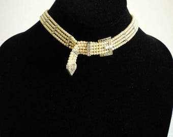 Vintage Faux Pearl Rhinestone Choker Belt Necklace Wedding/Bridal