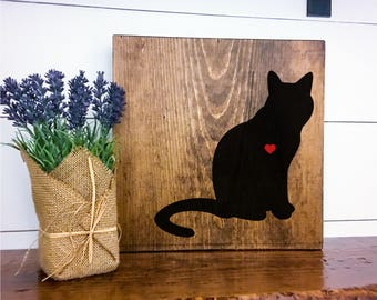 Cat Silhouette Hand Painted Stained Wood Sign, Cat Decor, Gift for Cat Lover, New Cat Gift, Cat Sign Decor, Housewarming Gift