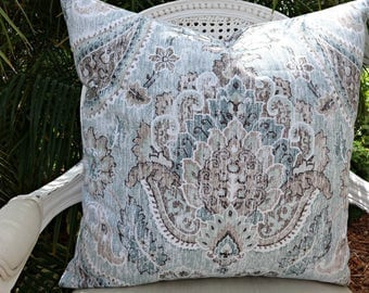 P Kaufmann Palazzo Geyer Blue Pillow Cover/ 20x20 Linen Pillow Cover/ Accent Toss Designer Linen Pillow Cover