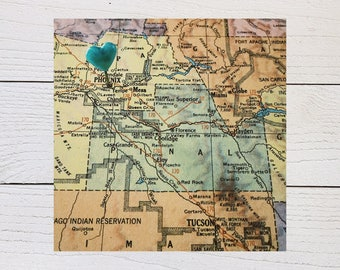 Phoenix Map, Arizona Heart Map, Phoenix Arizona Art, Phoenix Vacation Souvenir, Hometown Heart, Vintage Map Photography, Urban Wall Decor
