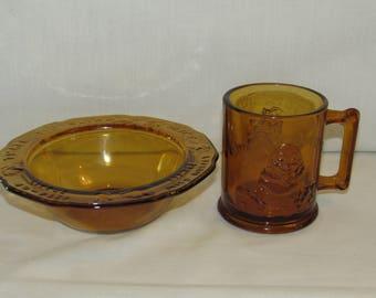 TIARA NURSERY RHYME Bowl and Mug Indiana Glass Great Baby Shower Gift 1970