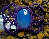 Blue Agate Macrame Bracel...