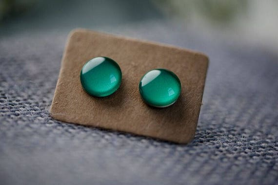 Emerald Green Earrings - Surgical Steel Hypoallergenic Green Studs - Free Postage Sensitive Earrings