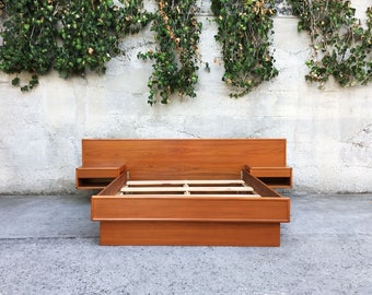 Mid Century Modern Danish Teak Platform Full Bed by Interform Collection