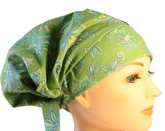Scrub Hat Cap Chemo Bad Hair Day Hat  European BOHO Lime Green Blue Paisley Floral 2nd Item Ships FREE