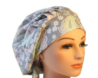 Scrub Cap Surgical Hat Chef   Dentist Hat Tie Back Bouffant Lacy Pink Floral 2nd Item Ships FREE